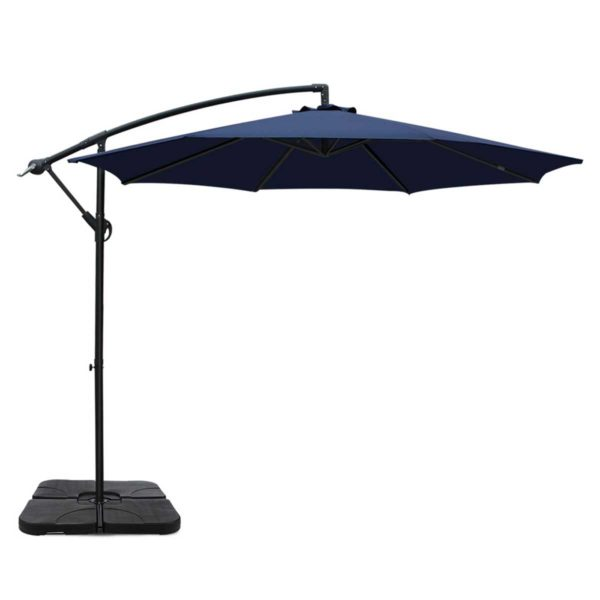 UMB BAN 50 COM NA 00 600x600 - Instahut 3M Umbrella with 50x50cm Base Outdoor Umbrellas Cantilever Sun Stand UV Garden Navy