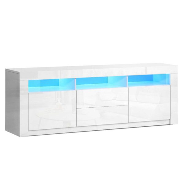 FURNI N LED TV200 WH AB 00 600x600 - Artiss TV Cabinet Entertainment Unit Stand RGB LED High Gloss Furniture Storage Drawers Shelf 200cm White