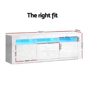 FURNI N LED TV200 WH AB 01 300x300 - Artiss TV Cabinet Entertainment Unit Stand RGB LED High Gloss Furniture Storage Drawers Shelf 200cm White