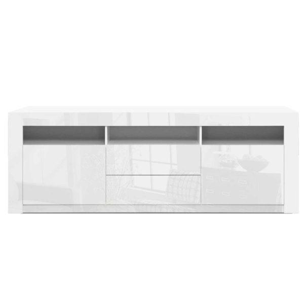 FURNI N LED TV200 WH AB 02 600x600 - Artiss TV Cabinet Entertainment Unit Stand RGB LED High Gloss Furniture Storage Drawers Shelf 200cm White