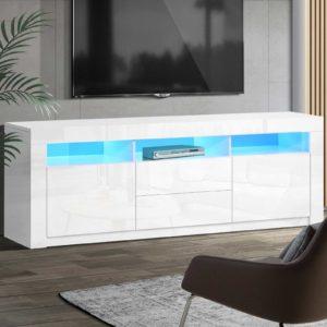FURNI N LED TV200 WH AB 99 300x300 - Artiss TV Cabinet Entertainment Unit Stand RGB LED High Gloss Furniture Storage Drawers Shelf 200cm White