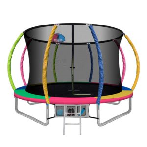 TRAMPO C C10 MC AB 00 300x300 - 10FT Trampoline Round Trampolines With Basketball Hoop Kids Present Gift Enclosure Safety Net Pad Outdoor Multi-coloured